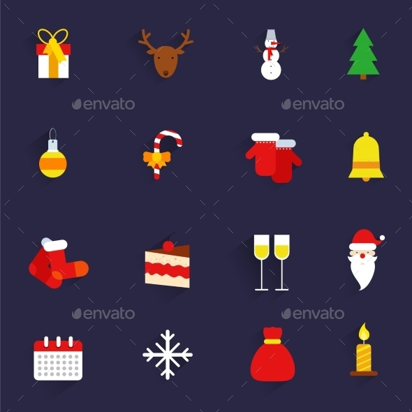 GraphicRiver Christmas icons set flat 9224756