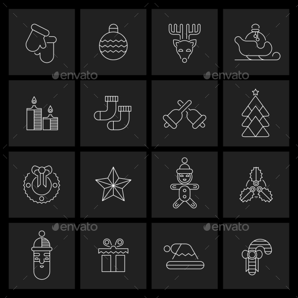 GraphicRiver Christmas icons set outline 9224759