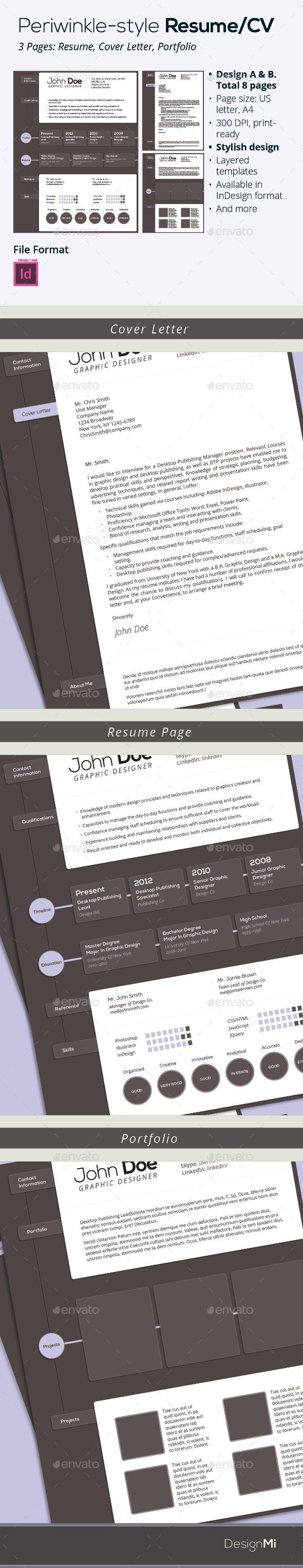 GraphicRiver Periwinkle Style Resume CV 9225504