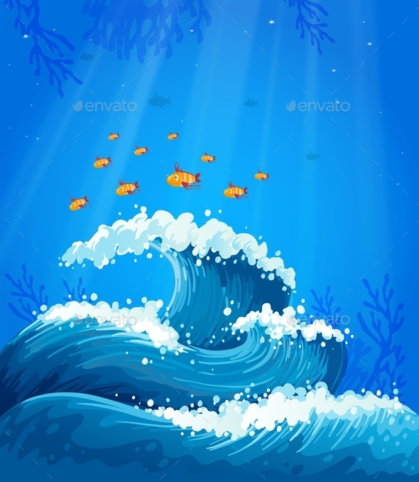 GraphicRiver A Wave and Fishes under the Sea 9225524