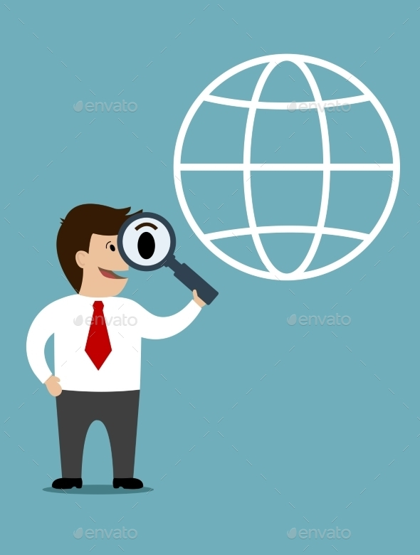 GraphicRiver Businessman conducting a global search 9225646