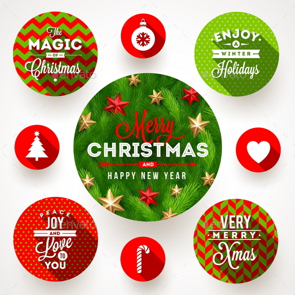 GraphicRiver Set of Christmas Greeting Design and Flat Icons 9225660