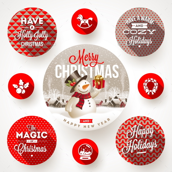 GraphicRiver Set of Christmas Greeting Design and Flat Icons 9225666