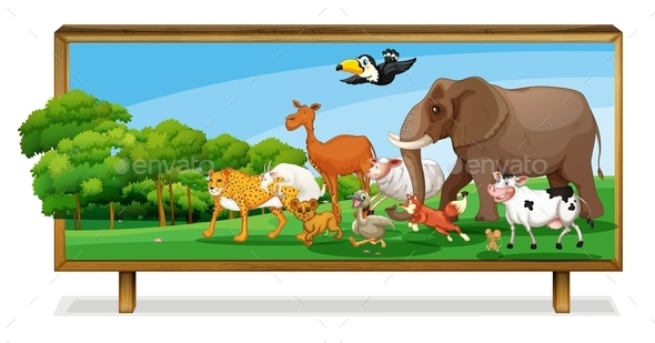 GraphicRiver Animals in Jungle on Board 9225672