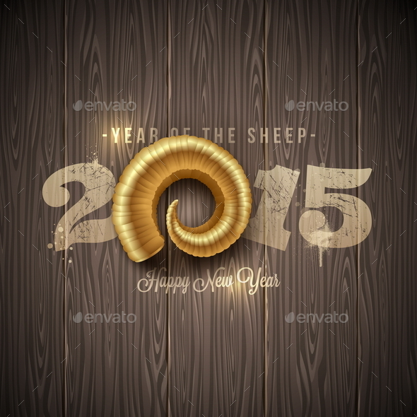GraphicRiver New Years Greeting with Golden Horn of a Sheep 9225693