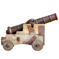 Medieval cannon isolated on white background. Ancient European a - PhotoDune Item for Sale