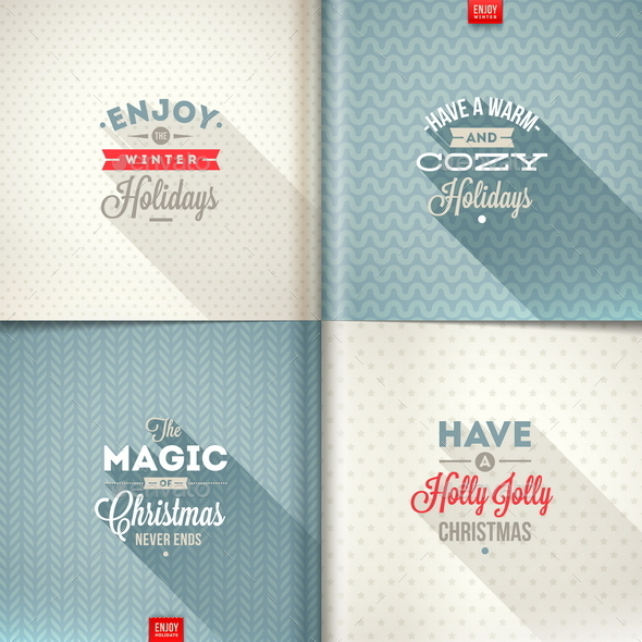 GraphicRiver Set of Christmas Type Design with Long Shadow 9225745