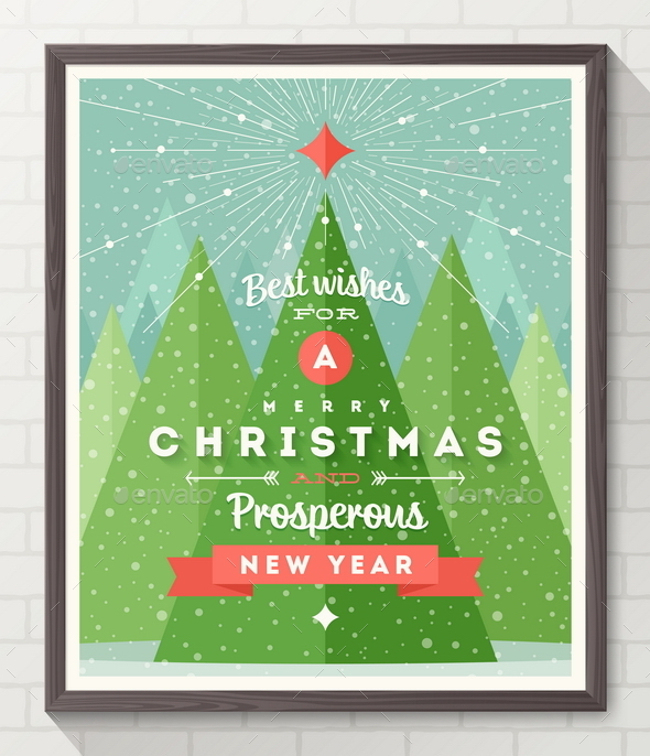 GraphicRiver Frame with Flat and Type Design Christmas Poster 9225753
