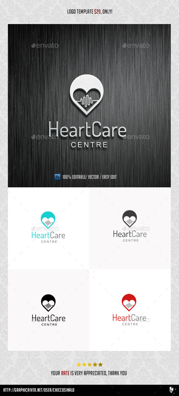 GraphicRiver HeartCare Logo Template 9225860