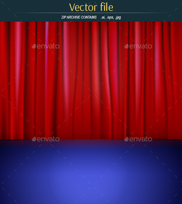 GraphicRiver Stage with Red Curtain 9225984