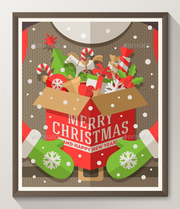 GraphicRiver Santa Claus Holding a Box with Christmas Gifts 9226121