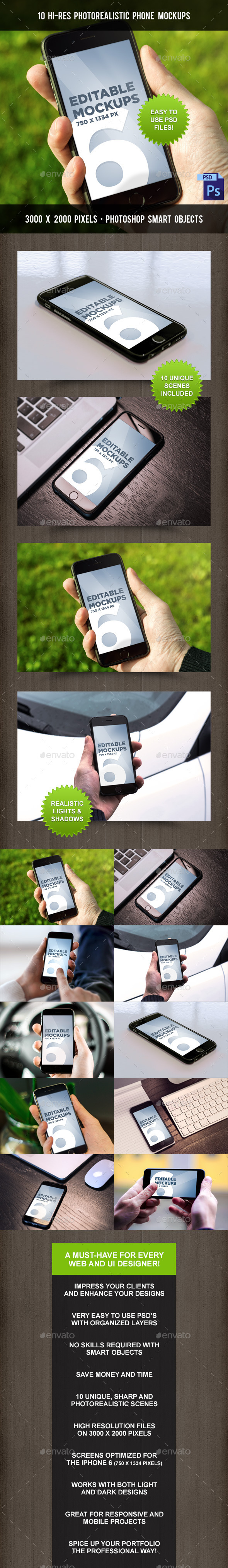 GraphicRiver 10 Photorealistic Phone Mock-Ups 9226128