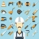 Construction Concept with Flat Icons and Builder.  - GraphicRiver Item for Sale