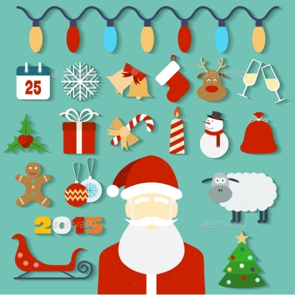 GraphicRiver Christmas Concept with Flat Icons and Santa 9226313
