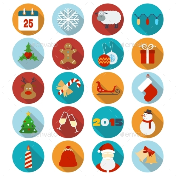GraphicRiver Christmas Flat Icons Set 9226329