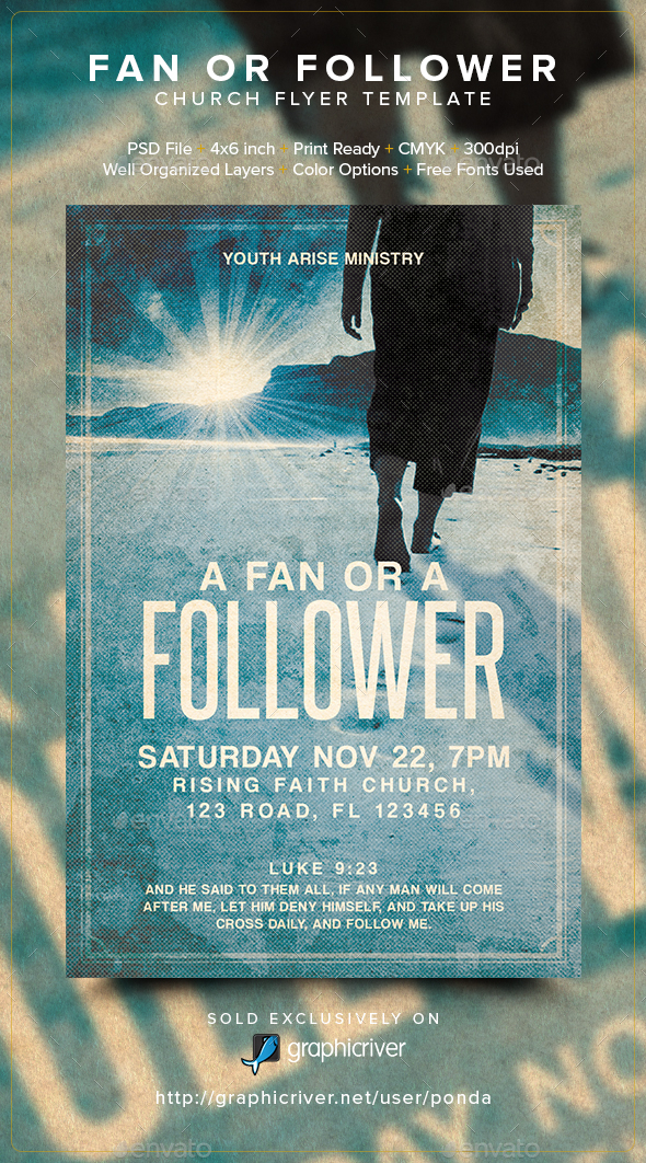 Fan or Follower Church Flyer Template