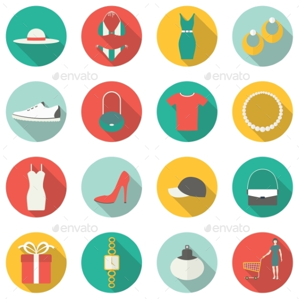 GraphicRiver Shopping Flat Icons 9226332