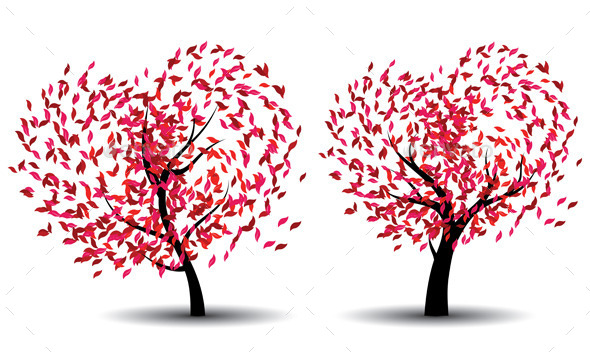 GraphicRiver Tree with Abstract Red Leaves 9226669