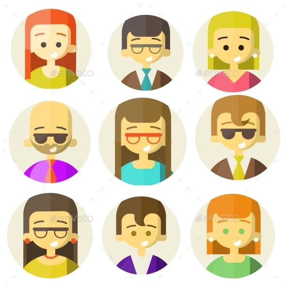 GraphicRiver Colorful People Faces Circle Icons Set 9226740