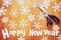 New Year background with various snowflakes on wooden surface - PhotoDune Item for Sale