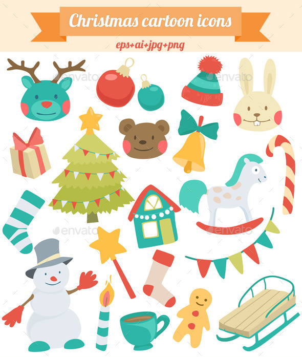 GraphicRiver Christmas Cartoon Icons 9227308