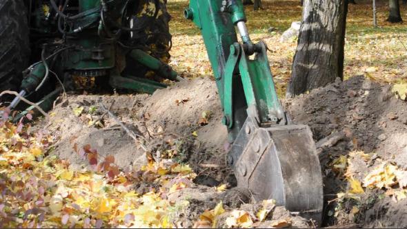 Digger Excavator Machinery at Work