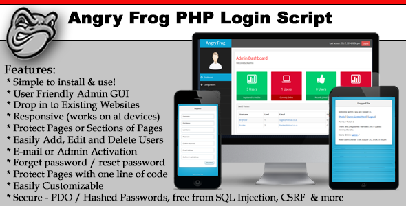 CodeCanyon Angry Frog PHP Login Script 9146226