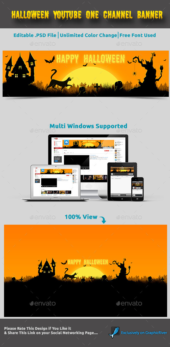 GraphicRiver Halloween Youtube One Channel Banner 9198292