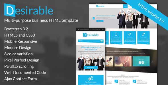 ThemeForest Desirable Responsive HTML5 Business Template 9227771