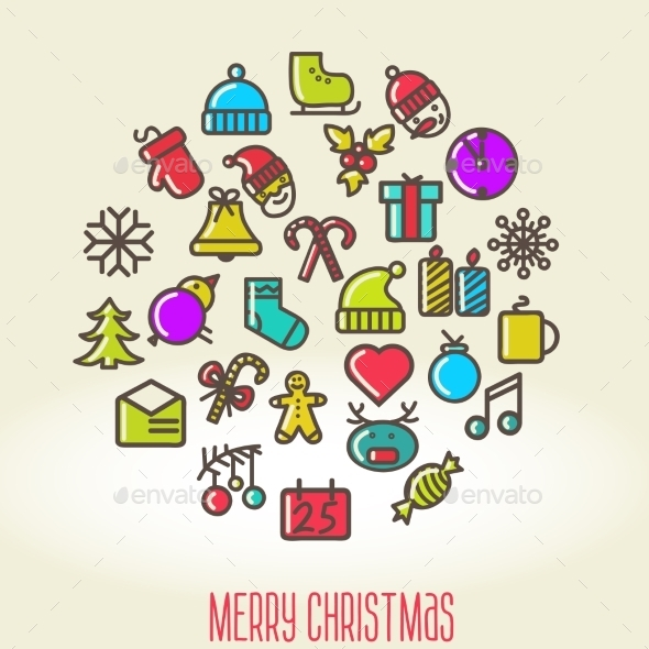 GraphicRiver Christmas Background with Set of Icons 9227807