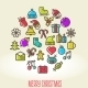 Christmas Background with Set of Icons - GraphicRiver Item for Sale