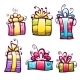 Set of Brightly Colored Gift Cartoon Boxes - GraphicRiver Item for Sale