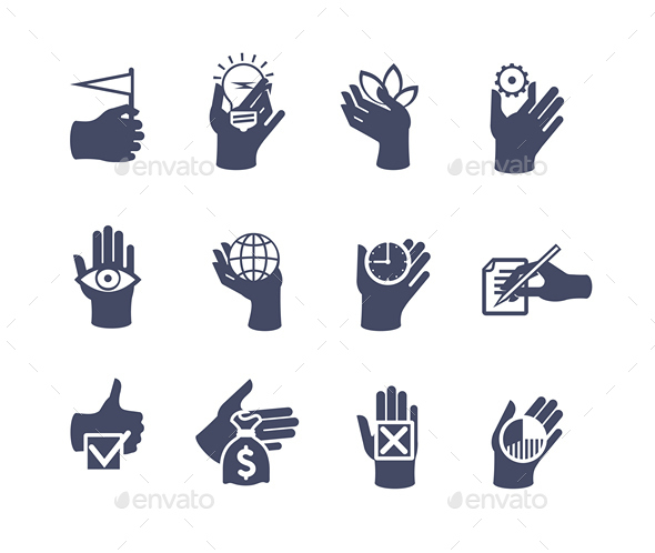 GraphicRiver Hands Icon Set for Website or Application 9228063
