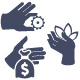 Hands Icon Set for Website or Application
