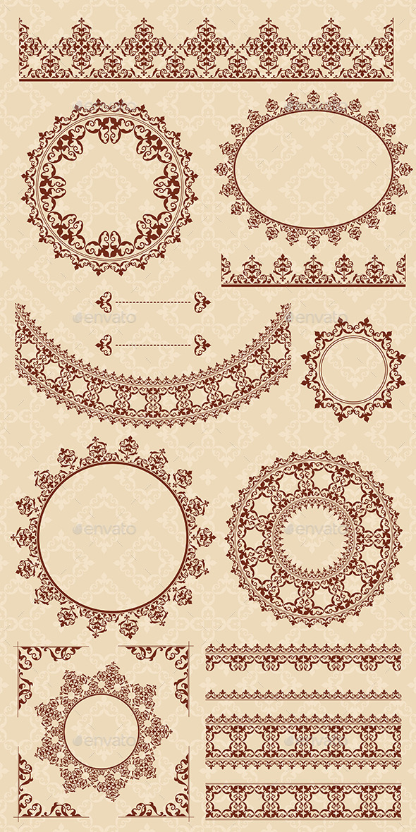 GraphicRiver Brown Ornamental Elements Vector Set 9228107
