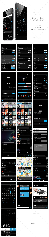 Flat UI Set Black Edition Vol. 2 - User Interfaces Web Elements
