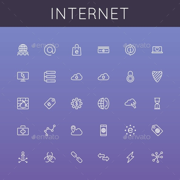 GraphicRiver Vector Internet Line Icons 9228414