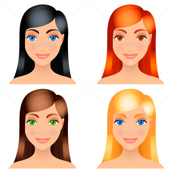 GraphicRiver Women Hair Colors 9228687