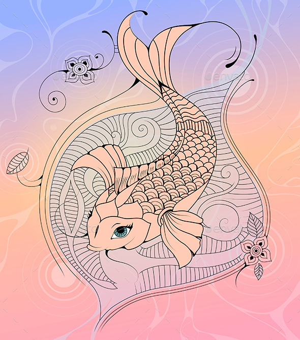 GraphicRiver Koi Carp in a Pond Ink Illustration 9228988