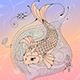 Koi Carp in a Pond Ink Illustration - GraphicRiver Item for Sale