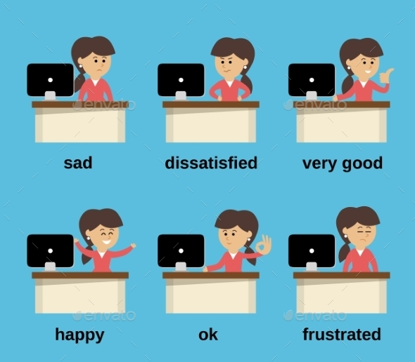 GraphicRiver Businesswoman working emotions set 9229057