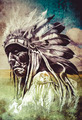 Sketch of tattoo art, indian head over artistic background - PhotoDune Item for Sale