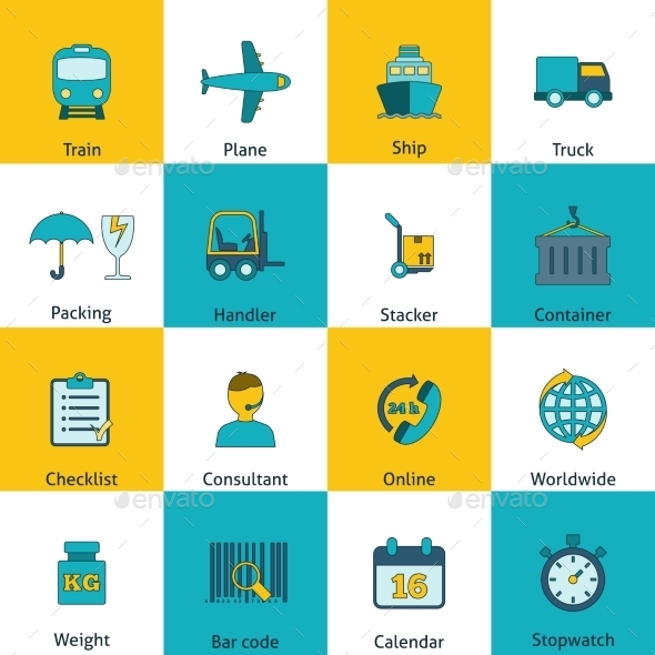 GraphicRiver Logistic icons set flat 9229206