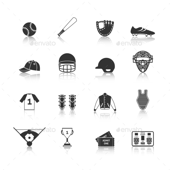 GraphicRiver Baseball Icons Set Black 9229212