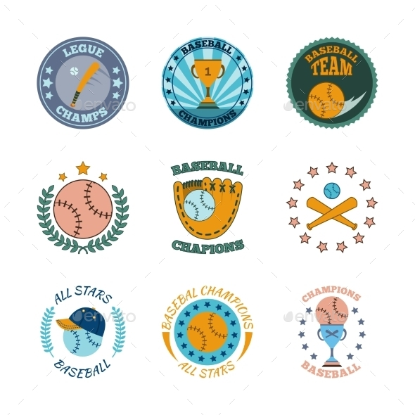 GraphicRiver Baseball labels icons color set 9229238