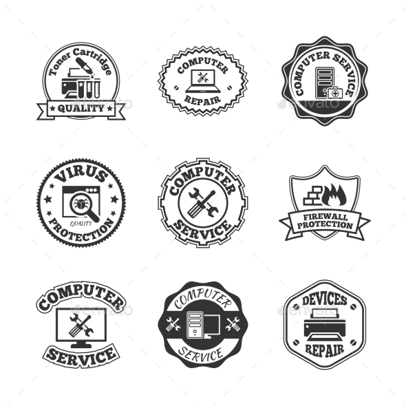 GraphicRiver Computer repair labels icons set 9229246