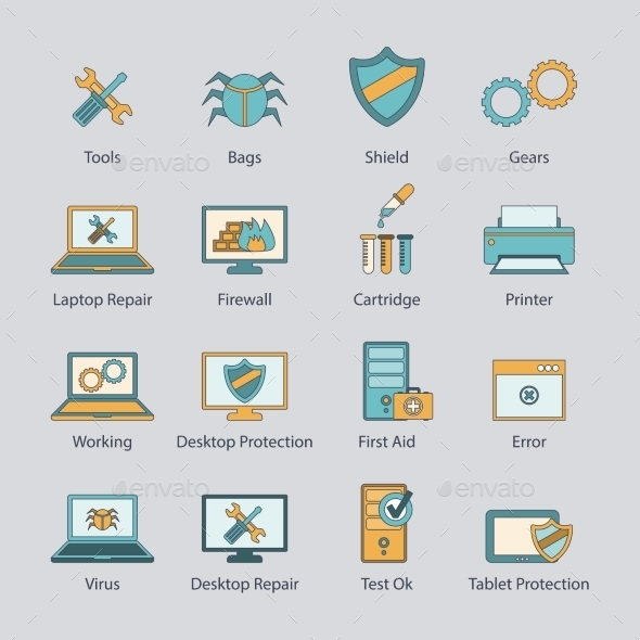 GraphicRiver Computer repair flat line icons set 9229247