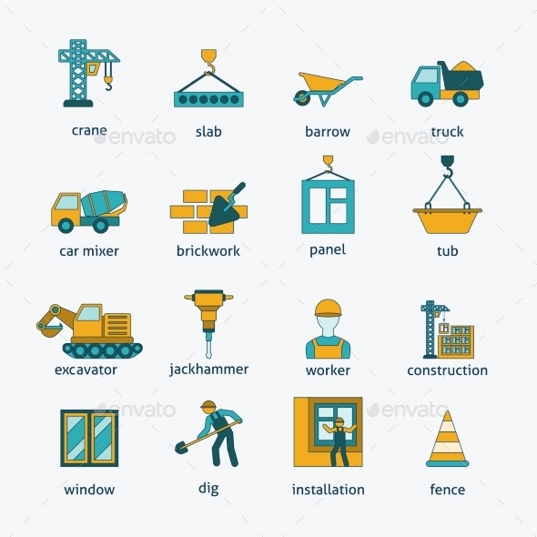 GraphicRiver Construction icons flat line set 9229252