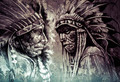 Native american indian head, chief, retro style - PhotoDune Item for Sale
