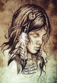 American indian woman, Tattoo sketch, handmade design over vinta - PhotoDune Item for Sale